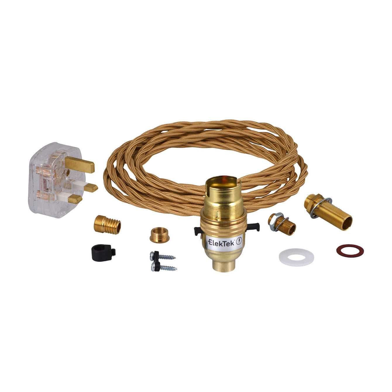 ElekTek Premium Lamp Kit Brass Safety Switch B22 Lamp Holder with Gold Flex and 3A UK Plug - Buy It Better