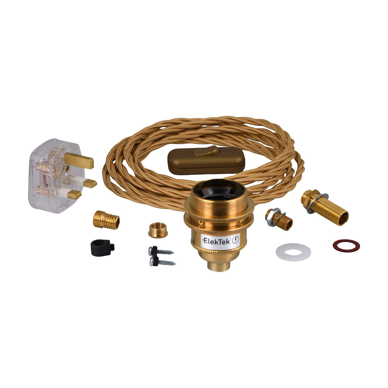 ElekTek Premium Lamp Kit Brass Shade Ring E27 Lamp Holder with Gold Flex, In Line Switch and 3A UK Plug - Buy It Better