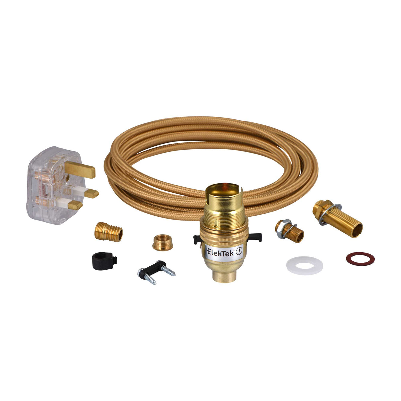 ElekTek Premium Lamp Kit Brass Safety Switch B22 Lamp Holder with Gold Flex and 3A UK Plug - Buy It Better Round