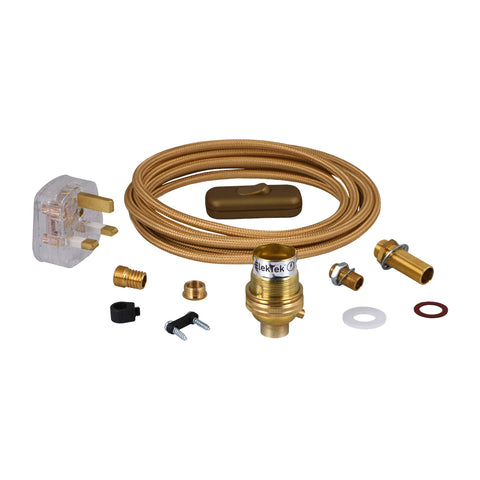 ElekTek Premium Lamp Kit Brass Unswitched B22 Lamp Holder with Gold Flex and 3A UK Plug