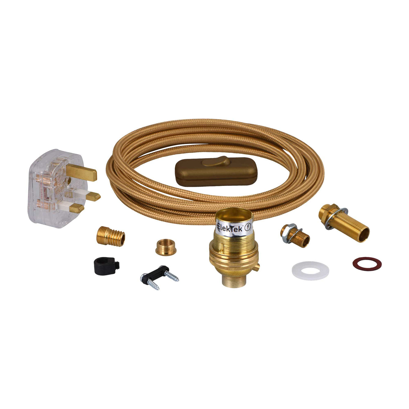 ElekTek Premium Lamp Kit Brass Unswitched B22 Lamp Holder with Gold Flex and 3A UK Plug - Buy It Better Round