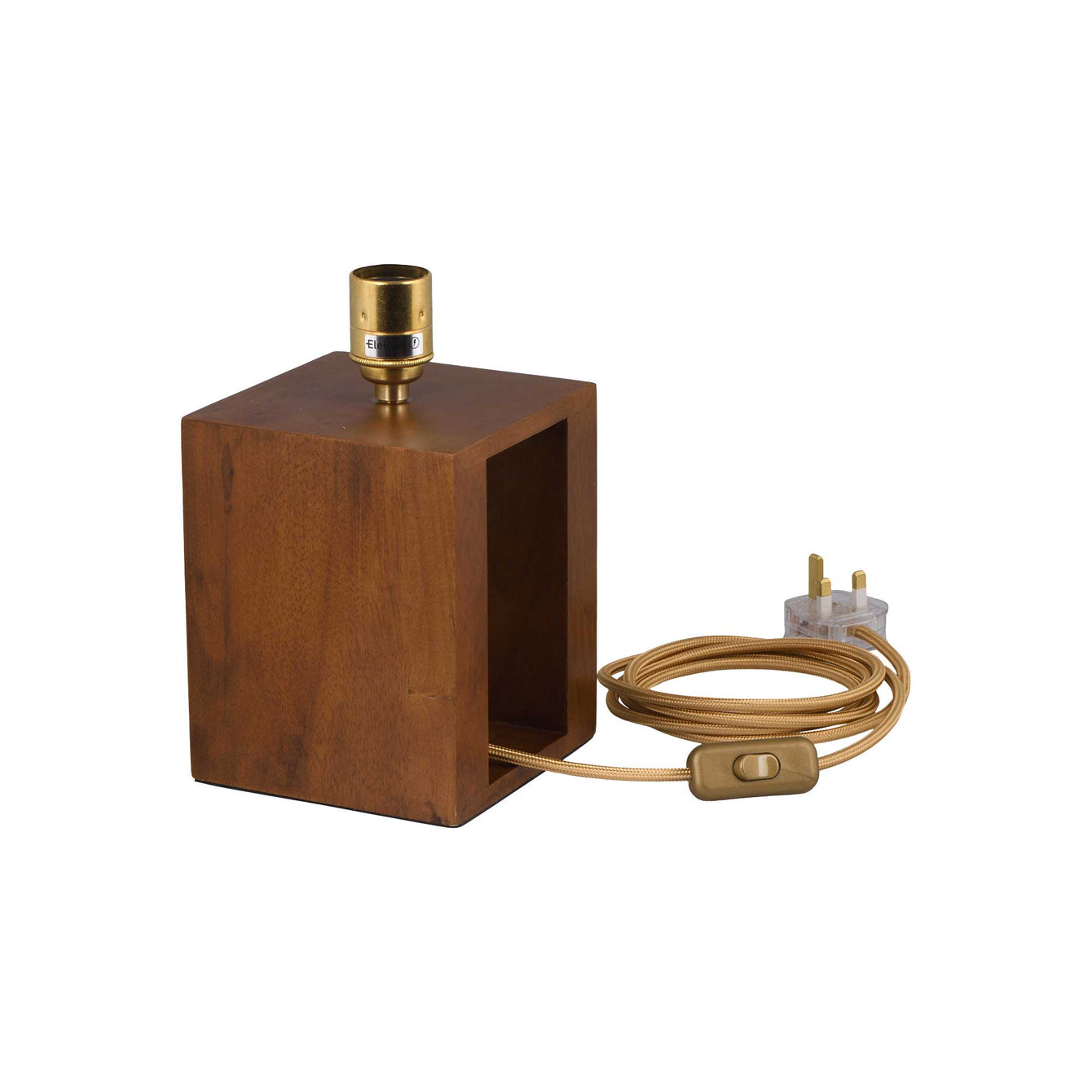 ElekTek Premium Lamp Kit Brass Plain E27 Lamp Holder with Gold Flex, In Line Switch and 3A UK Plug - Buy It Better