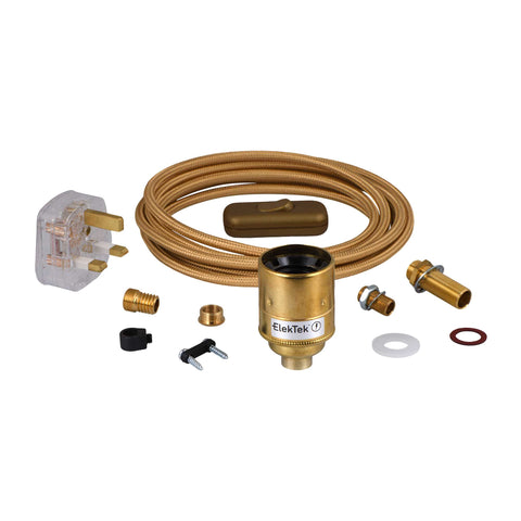 ElekTek Premium Lamp Kit Brass Plain E27 Lamp Holder with Gold Flex, In Line Switch and 3A UK Plug