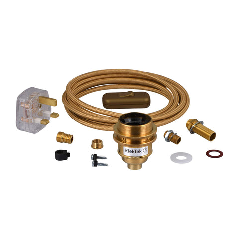 ElekTek Premium Lamp Kit Brass Shade Ring E27 Lamp Holder with Gold Flex, In Line Switch and 3A UK Plug