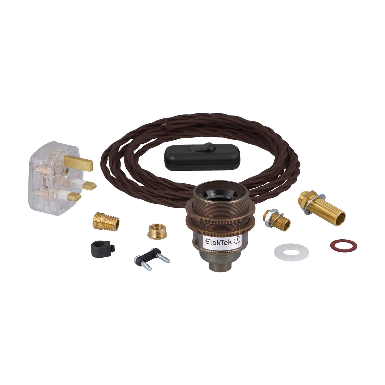 ElekTek Premium Lamp Kit Antique Brass Shade Ring E27 Lamp Holder with Flex, In Line Switch and 3A UK Plug - Buy It Better