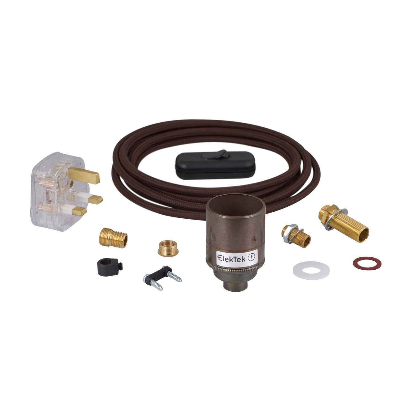 ElekTek Premium Lamp Kit Antique Brass Plain E27 Lamp Holder with Flex, In Line Switch and 3A UK Plug Round