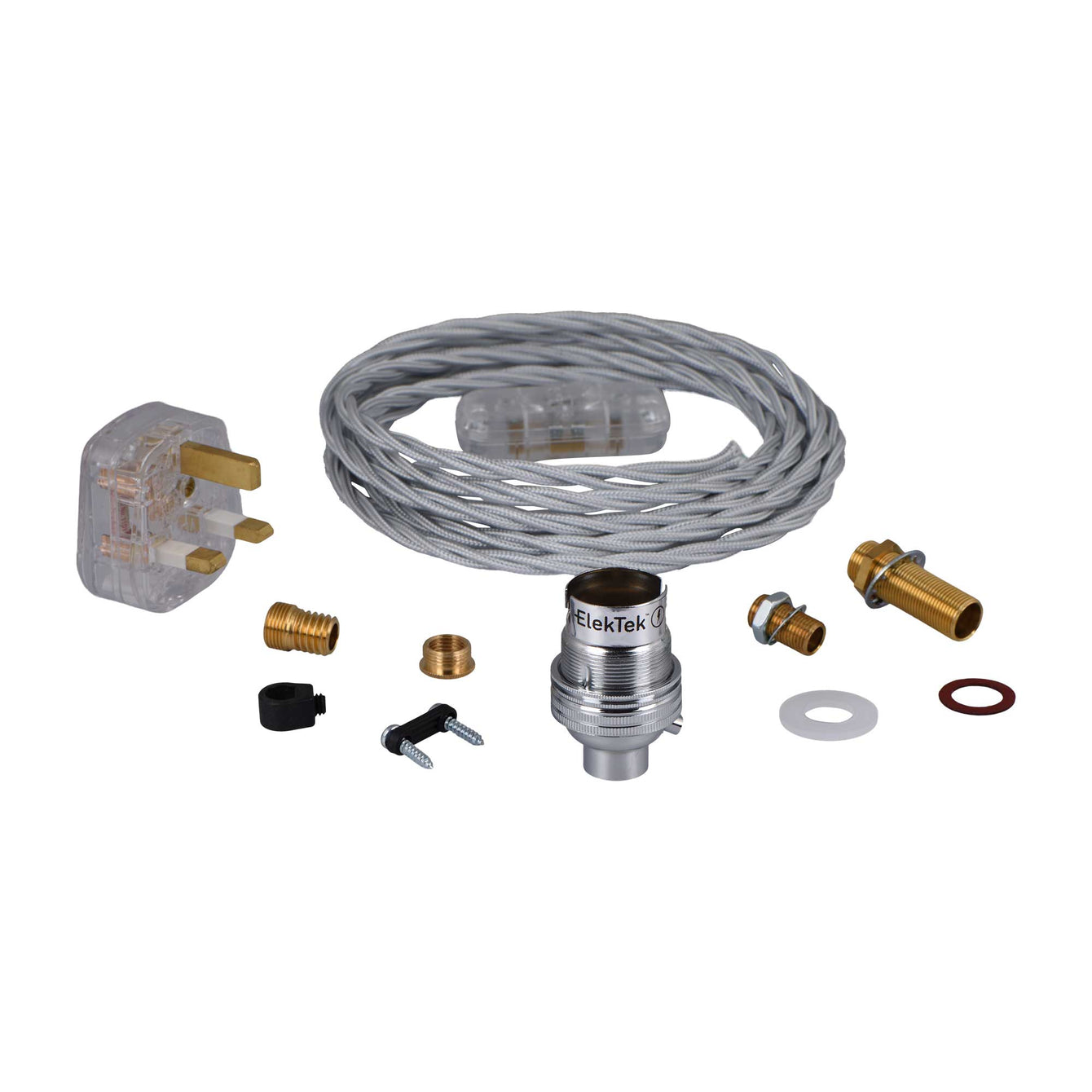 ElekTek Premium Lamp Kit Chrome Unswitched B22 Lamp Holder with Flex and 3A UK Plug Twisted