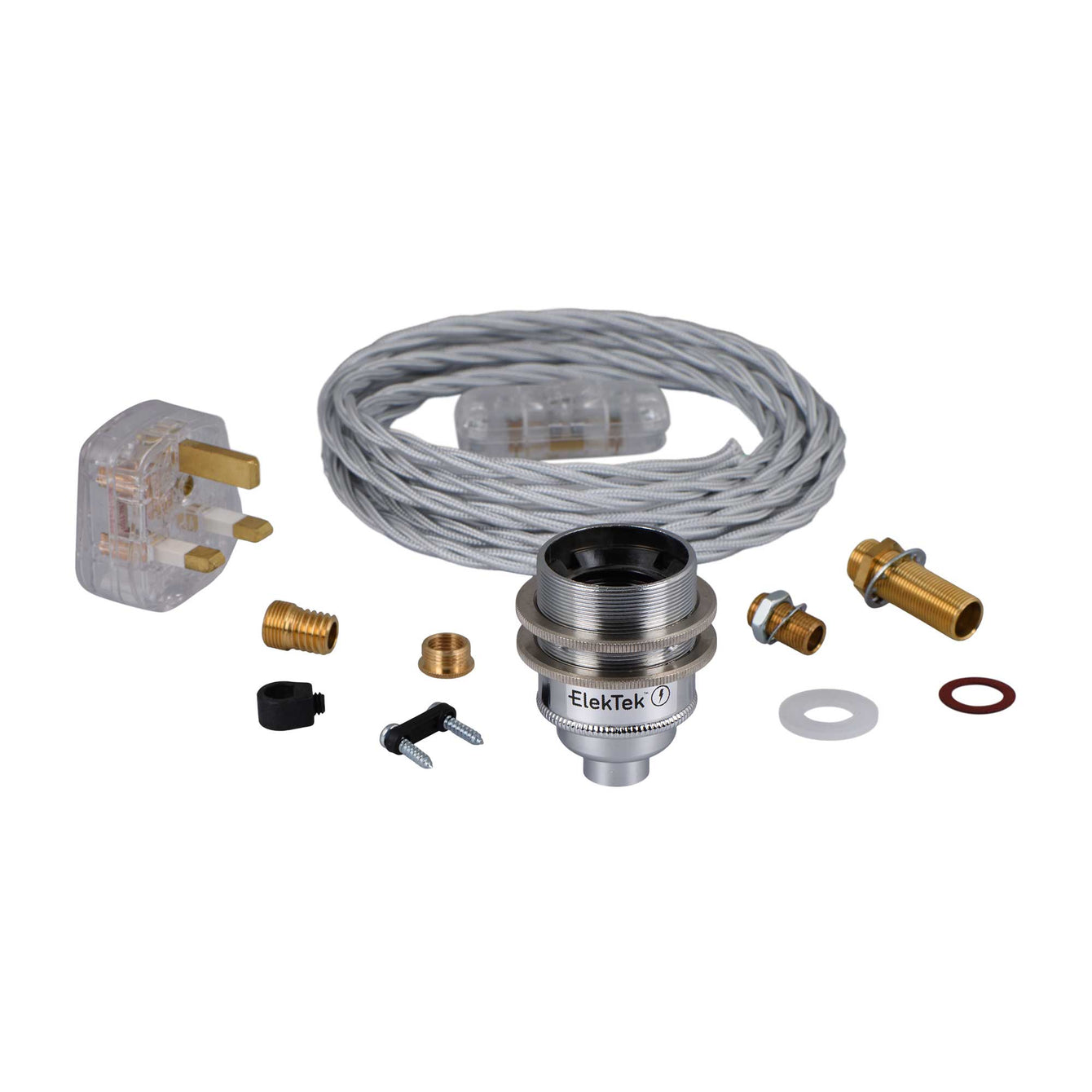 ElekTek Premium Lamp Kit Chrome Shade Ring E27 Lamp Holder with Flex, In Line Switch and 3A UK Plug Twisted