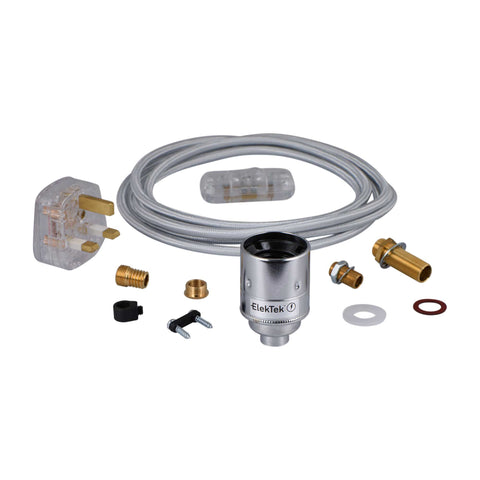 ElekTek Premium Lamp Kit Chrome Plain E27 Lamp Holder with Flex, In Line Switch and 3A UK Plug