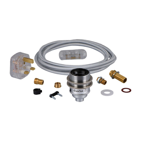 ElekTek Premium Lamp Kit Chrome Shade Ring E27 Lamp Holder with Flex, In Line Switch and 3A UK Plug