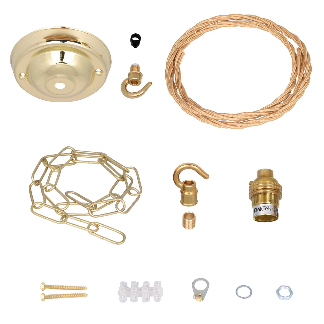 ElekTek Premium Pendant Light Kit DIY 108mm Ceiling Rose, Chain, Twisted Flex and Lamp Holder B22 Hook - Buy It Better Brushed Antique
