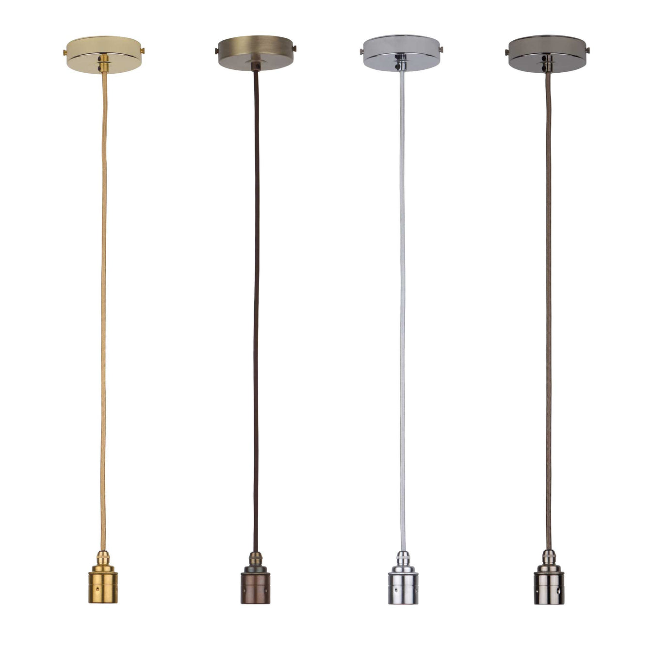 ElekTek Premium Pendant Light Kit DIY 100mm Flat Top Ceiling Rose, Round Flex and Lamp Holder E27 Plain Cord Grip - Buy It Better Brass