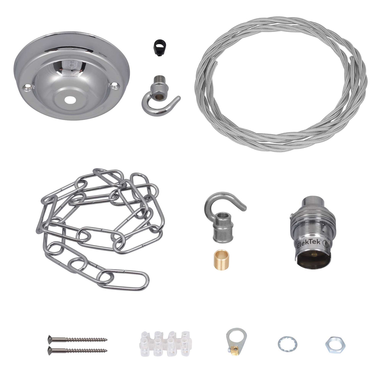ElekTek Premium Pendant Light Kit DIY 108mm Ceiling Rose, Chain, Twisted Flex and Lamp Holder B22 Hook - Buy It Better