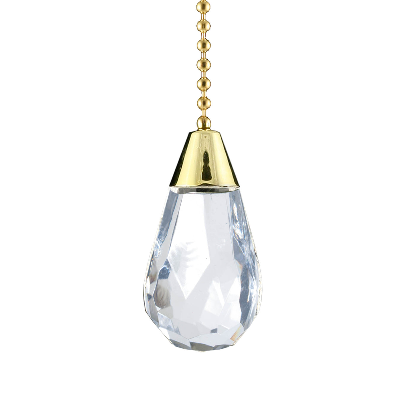 ElekTek Light Pull Chain Cord Brass Acrylic Crystal Facets With 80cm Matching Chain - Buy It Better Cylinder