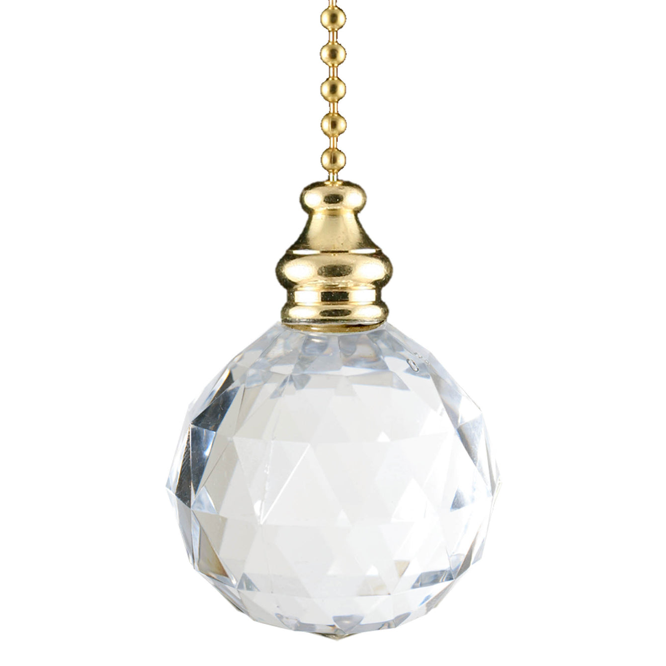 ElekTek Light Pull Chain Cord Brass and Acrylic Crystal Ball With 80cm Matching Chain - Buy It Better