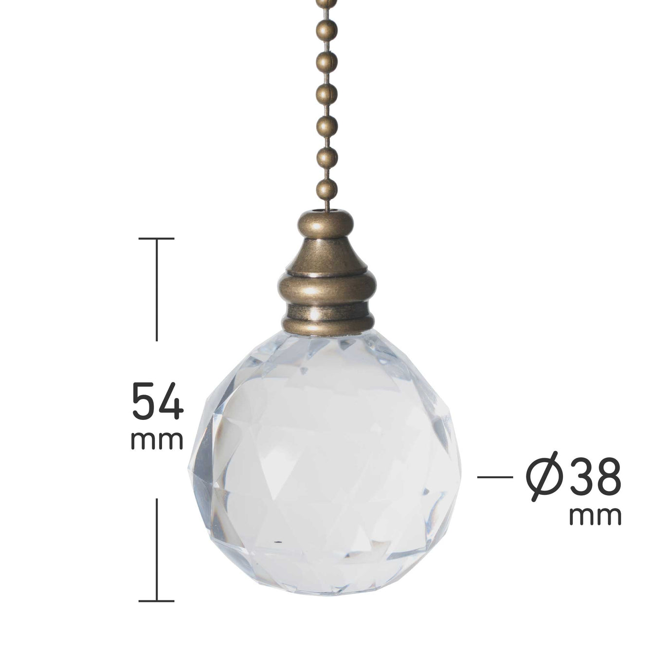 ElekTek Light Pull Chain Acrylic Crystal Ball With 80cm Matching Chain - Buy It Better