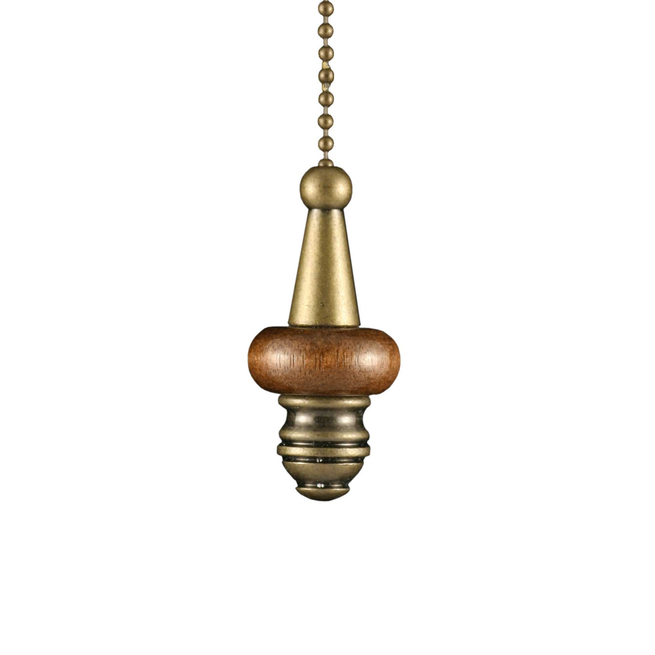 ElekTek Light Pull Chain Cord Antique Brass Wooden Disc With 80cm Matching Chain - Buy It Better Mahogany