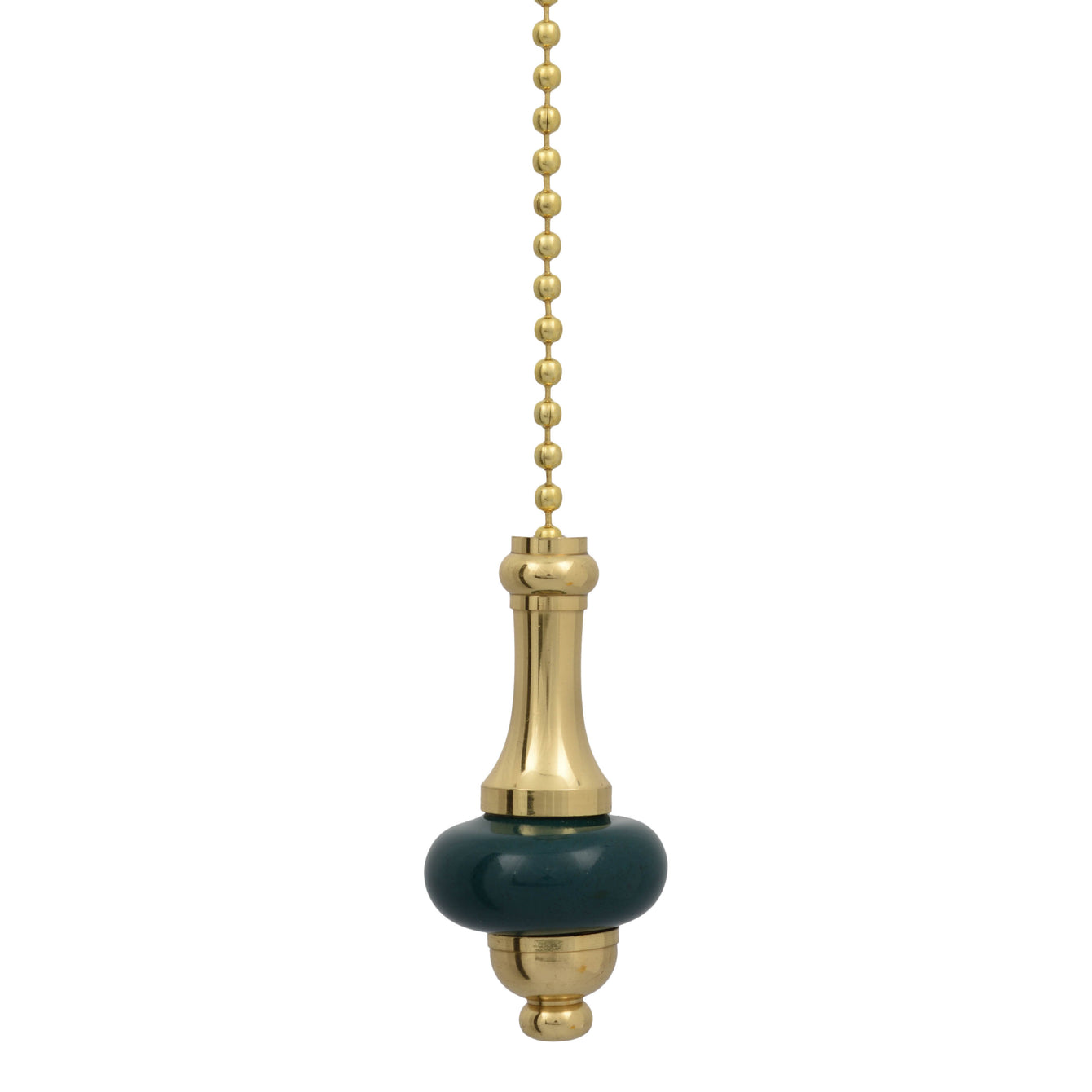 ElekTek Light Pull Chain Brass Ceramic Disc With 80cm Matching Chain - Buy It Better Pale Blue