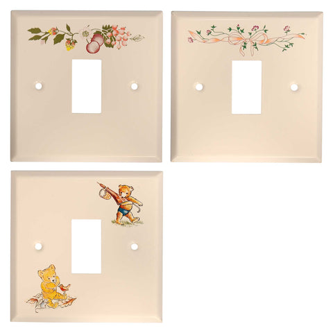 ElekTek Light Switch Conversion Cover Plate Single White Fresh Fruit Eternal Beau Teddy Bear