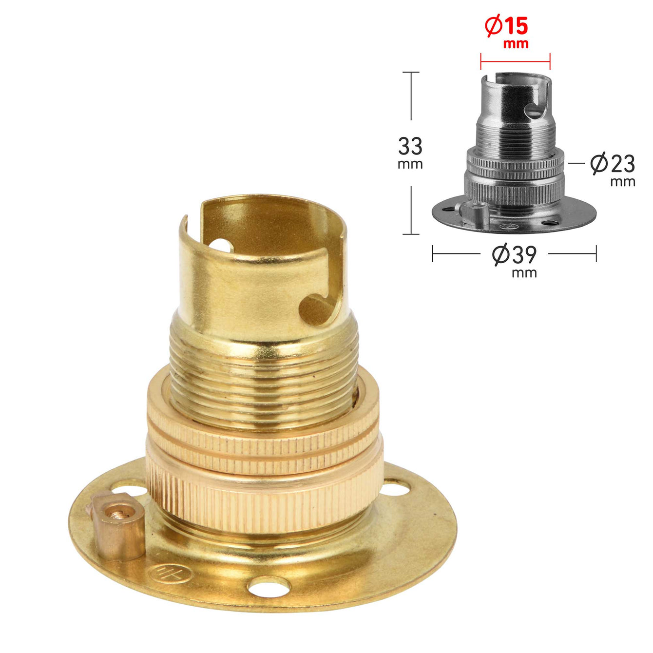 ElekTek Lamp Holder Fixed Batten Small Bayonet Cap SBC B15 With Shade Ring Solid Brass - Buy It Better Antique Brass