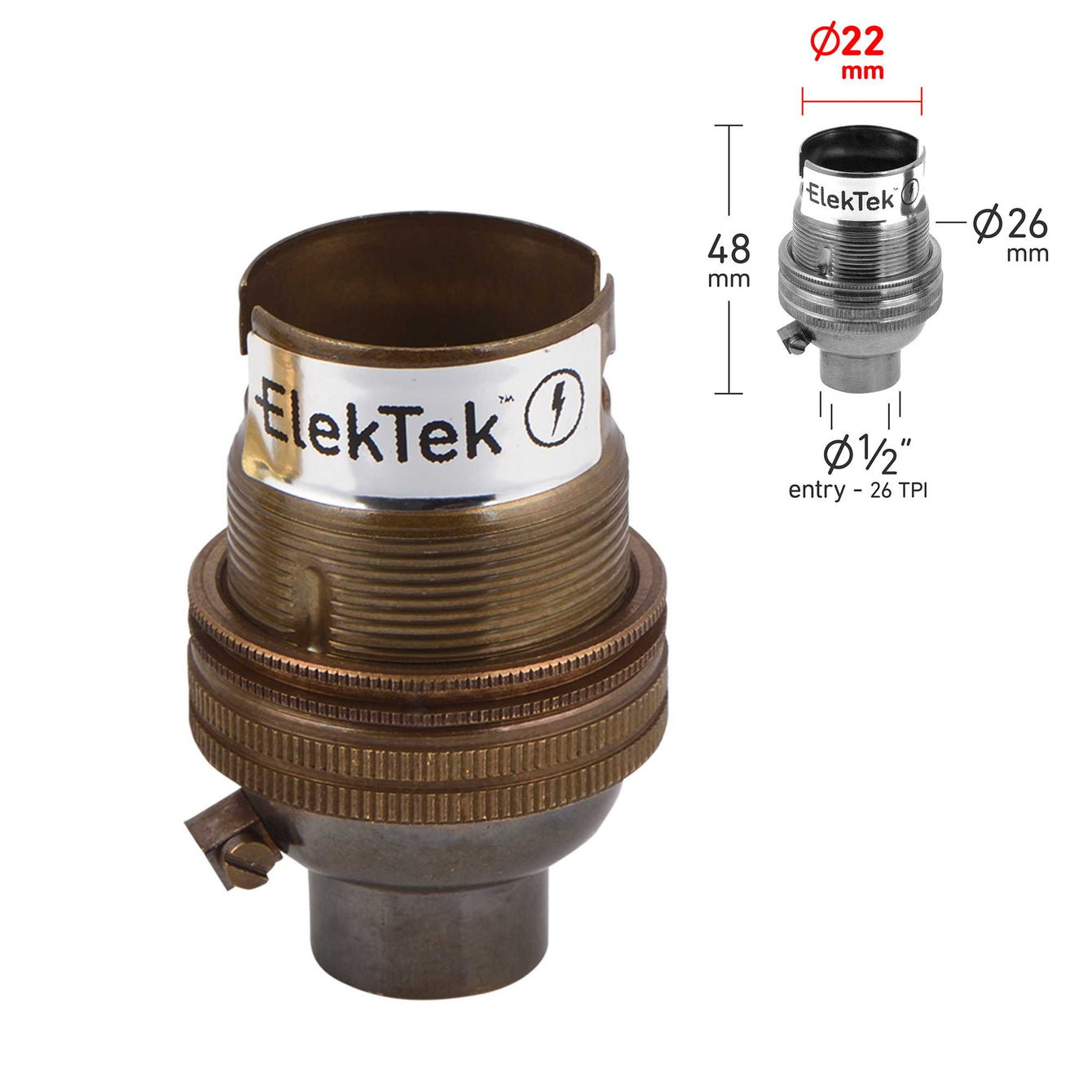 ElekTek Lamp Holder Bayonet Cap B22 Unswitched 10mm or Half Inch Entry With Shade Ring Solid Brass - Buy It Better