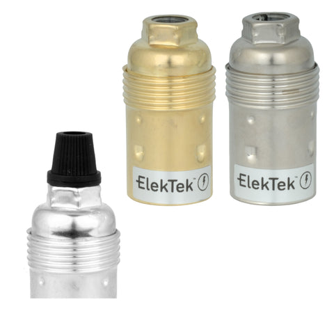 ElekTek SES E14 Lamp Holder 10mm Entry Small Edison Screw Earthed Plain Skirt Cord Grip Brass
