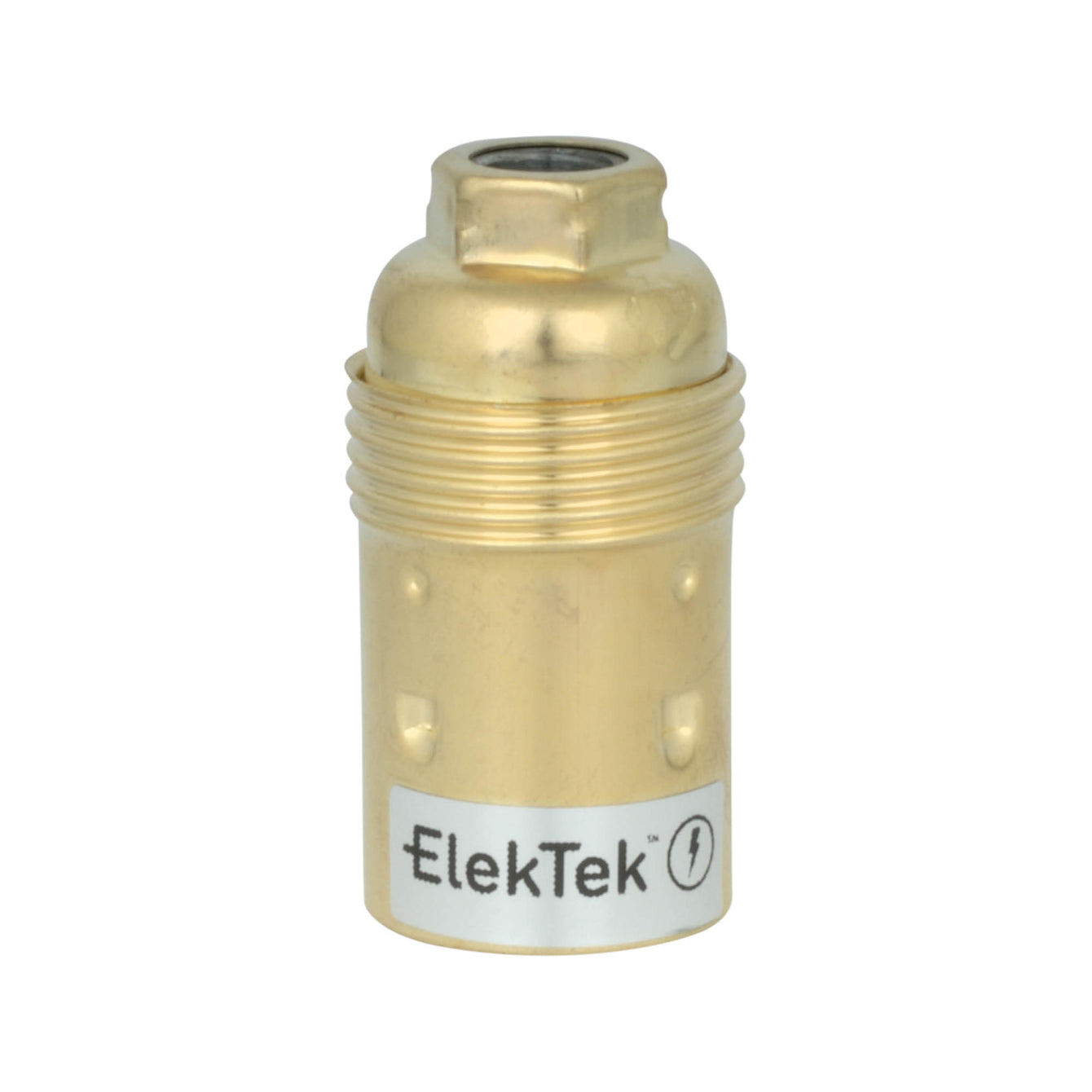 ElekTek SES E14 Lamp Holder 10mm Entry Small Edison Screw Earthed Plain Skirt Cord Grip Brass - Buy It Better Nickel