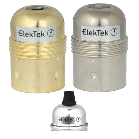ElekTek ES Edison Screw E27 Economy Lamp Bulb Holder With Cord Grip Plain Skirt Brass and Nickel Plated Steel