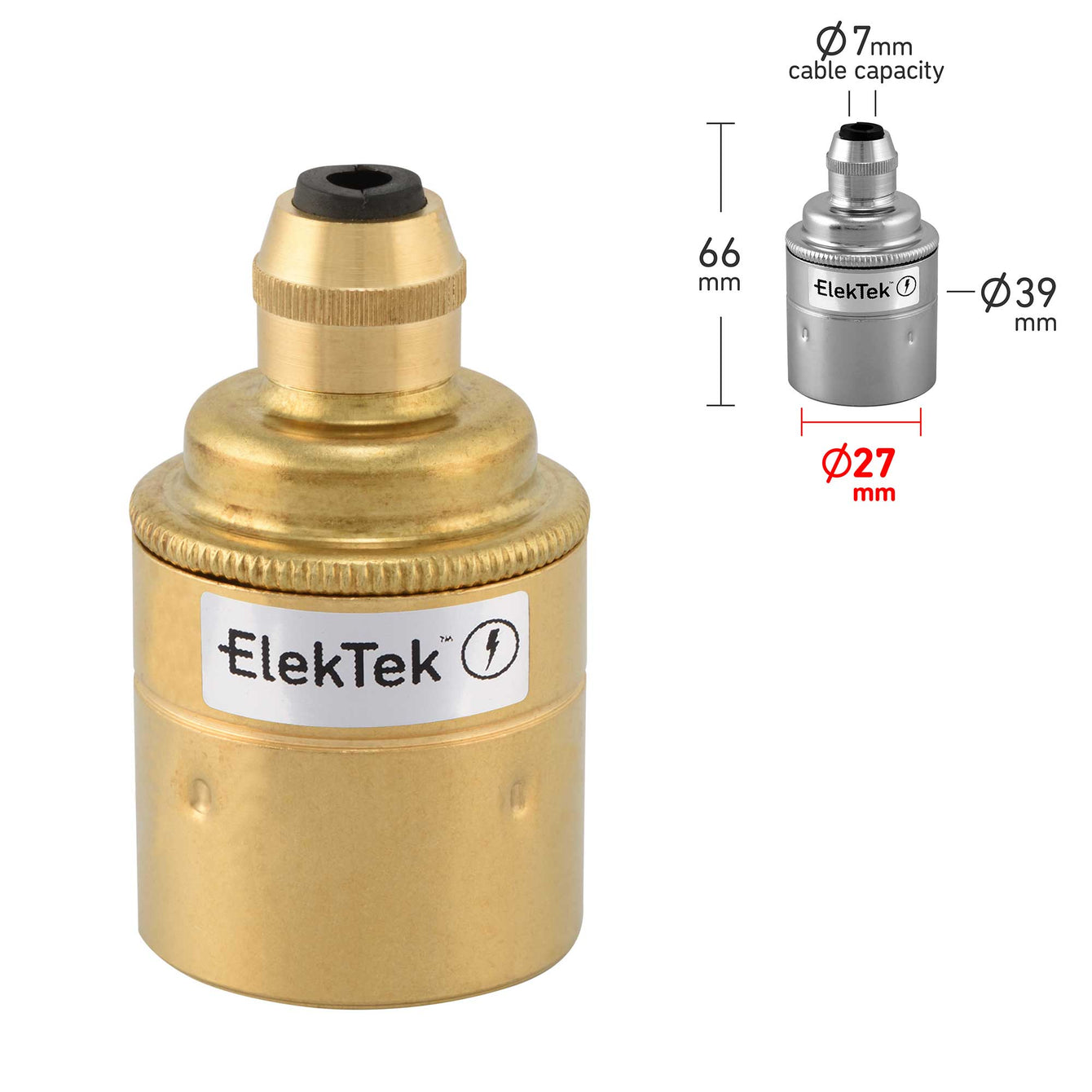 ElekTek ES Edison Screw E27 Cord Grip Pendant Lamp Holder Plain Skirt Brass - Buy It Better Antique Brass