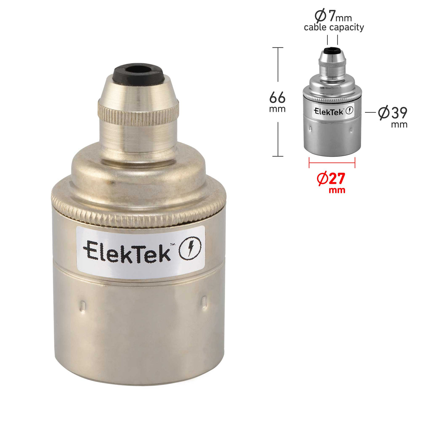 ElekTek ES Edison Screw E27 Cord Grip Pendant Lamp Holder Plain Skirt Brass - Buy It Better
