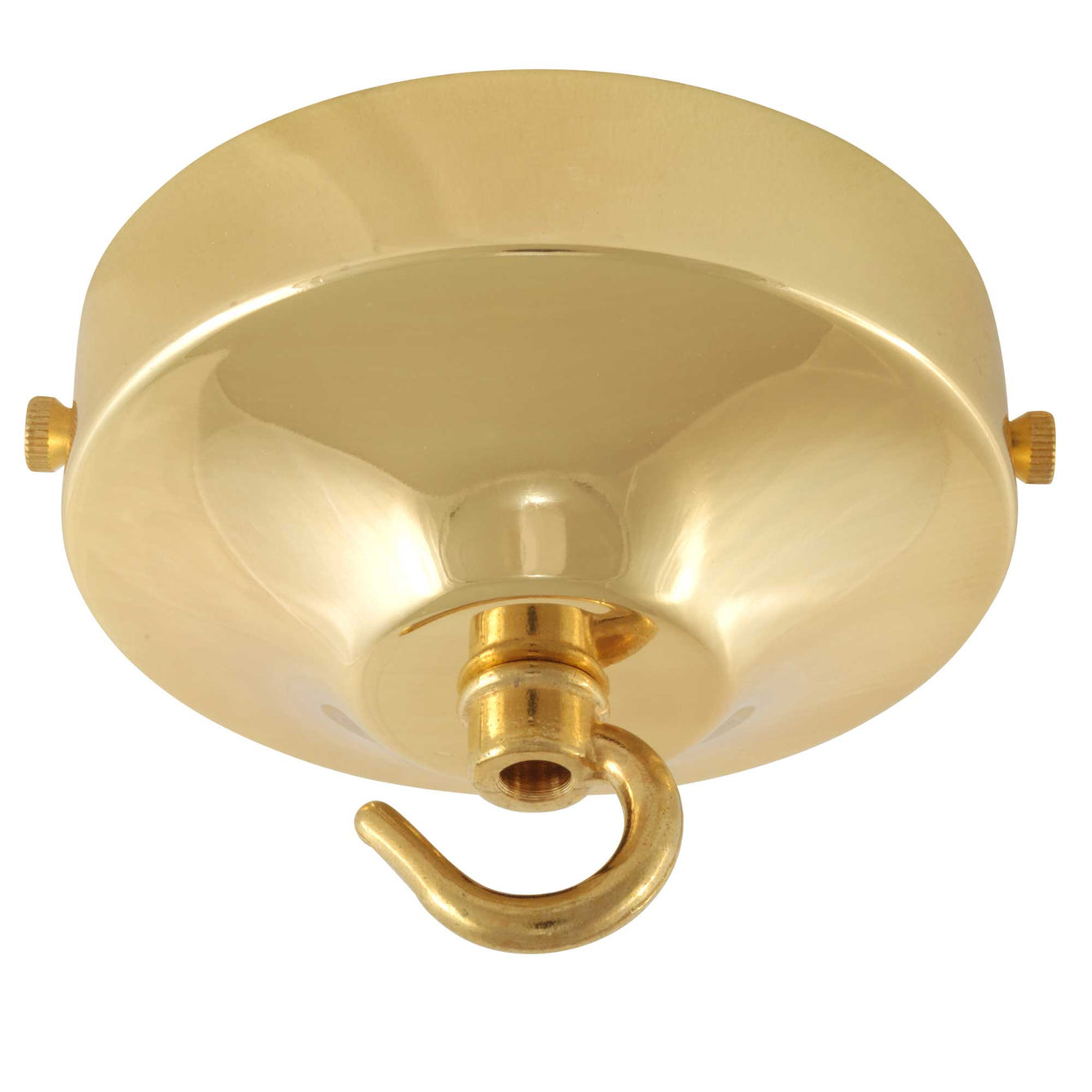 ElekTek 100mm Diameter Convex Ceiling Rose with Strap Bracket and Hook Metallic and Powder Coated Finishes Antique Brass