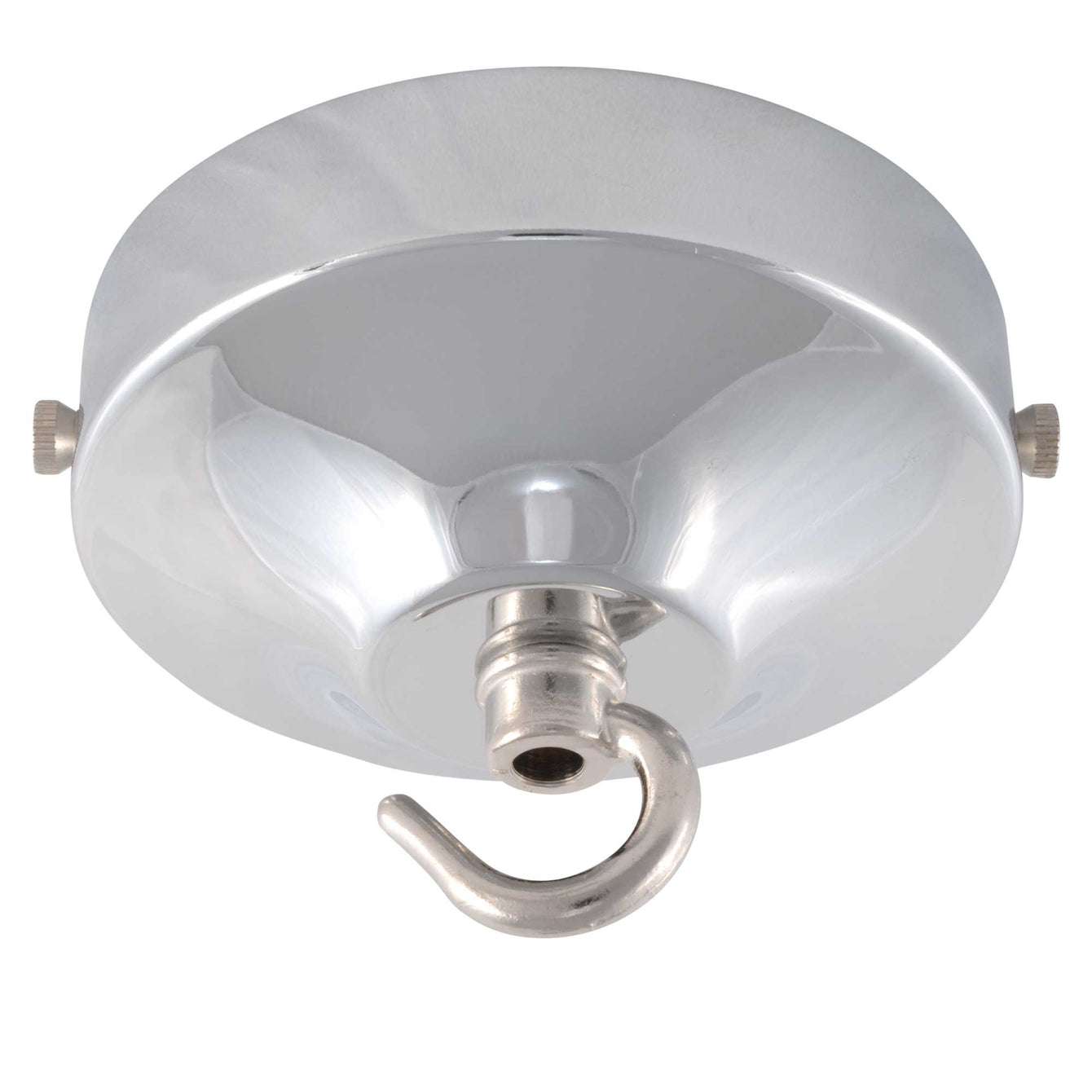 ElekTek 100mm Diameter Convex Ceiling Rose with Strap Bracket and Hook Metallic and Powder Coated Finishes Willow Green