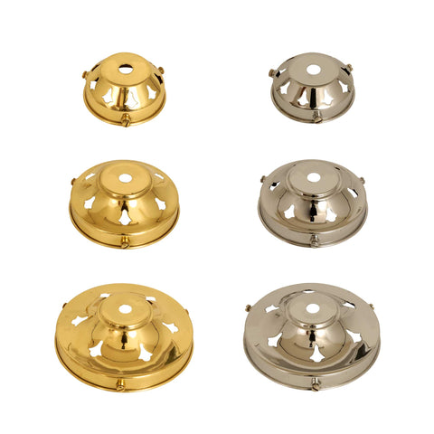 ElekTek Glass Lamp Shade Gallery Fitting for 10mm Fittings 3 Sizes Brass