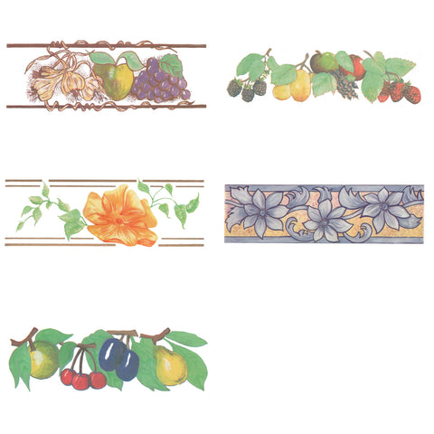 Water Slide Tile Transfers Border Farm House Evesham Fair Grecco Flower Majolica Blue Summer Fruit