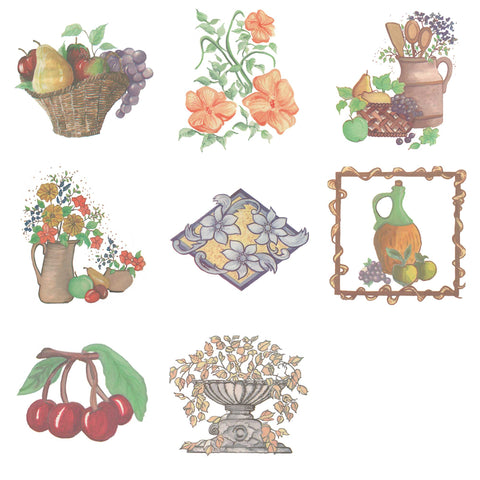 Water Slide Tile Transfers Inset Evesham Fair Basket of Fruit 5 Pack