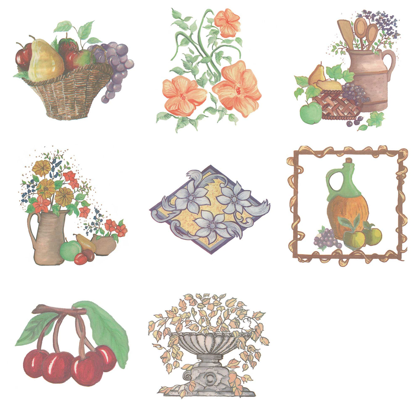 Water Slide Tile Transfers Inset Evesham Fair Basket of Fruit 5 Pack - Buy It Better Evesham Fair