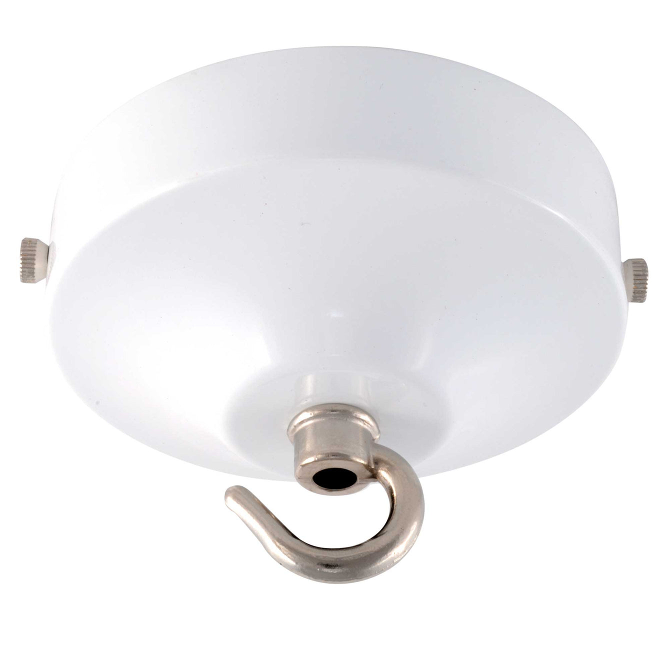 ElekTek 100mm Diameter Convex Ceiling Rose with Strap Bracket and Hook Metallic and Powder Coated Finishes Brilliant White