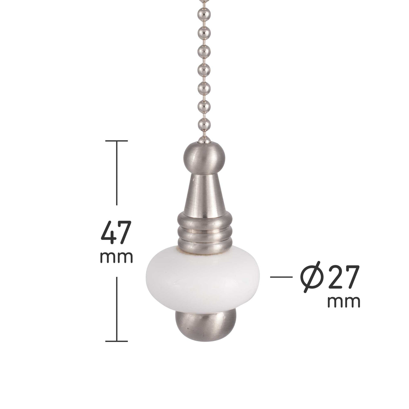 ElekTek Light Pull Chain White Ceramic Disc With 80cm Matching Chain - Buy It Better