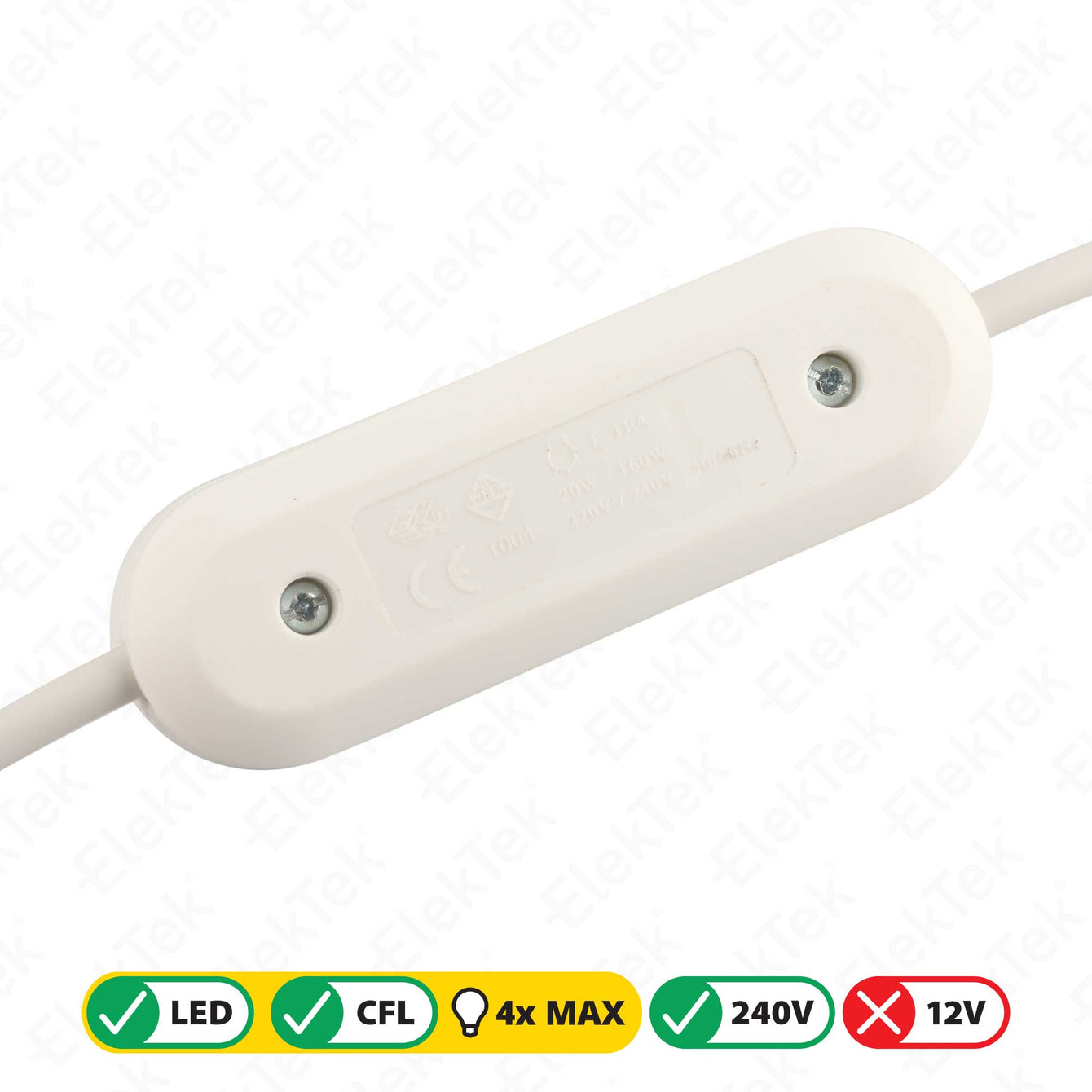 ElekTek LED Compatible Universal In Line Push Button Dimmer Switch 240v AC 2 Core Suitable For LED CFL & Incandescent Bulbs White