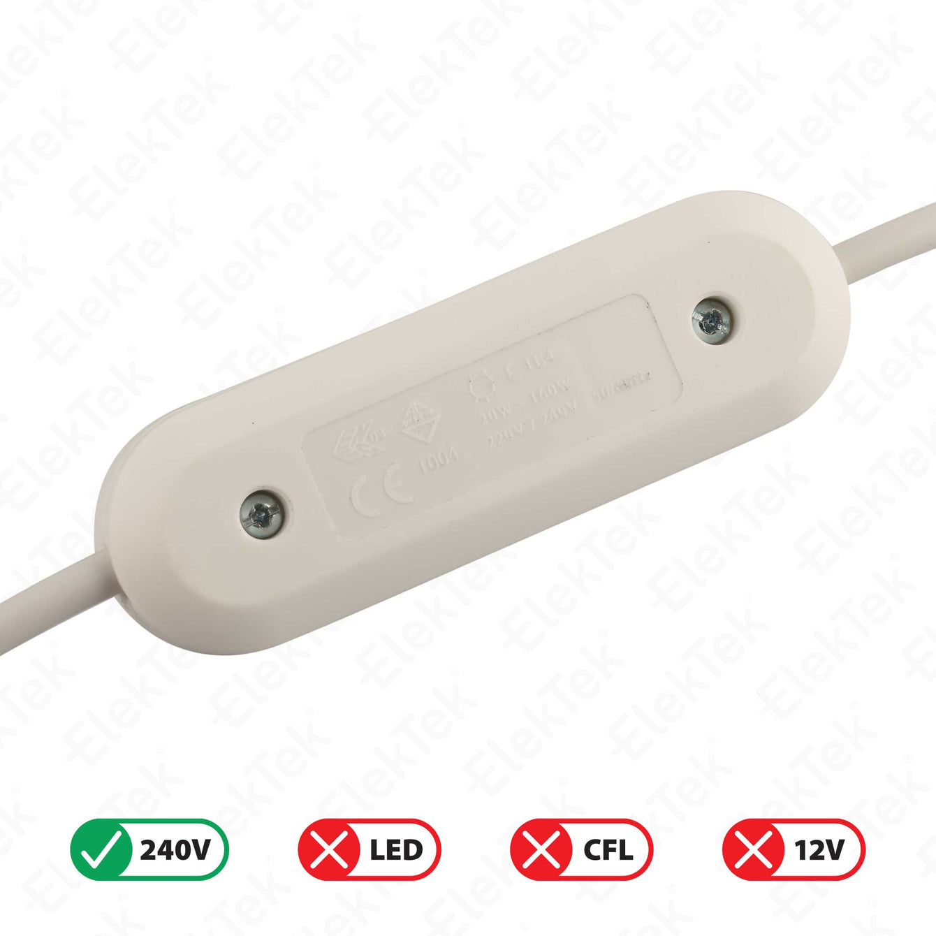 ElekTek In Line Rotary Dimmer Switch Rated 20-160w 240v AC 3 Core Suitable For Incandescent Lamps and Bulbs Colours Gold