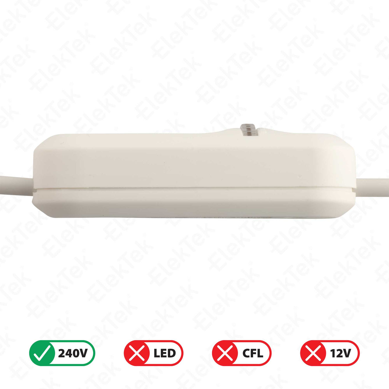 ElekTek In Line Rotary Dimmer Switch Rated 20-160w 240v AC 3 Core Suitable For Incandescent Lamps and Bulbs Colours Transparent