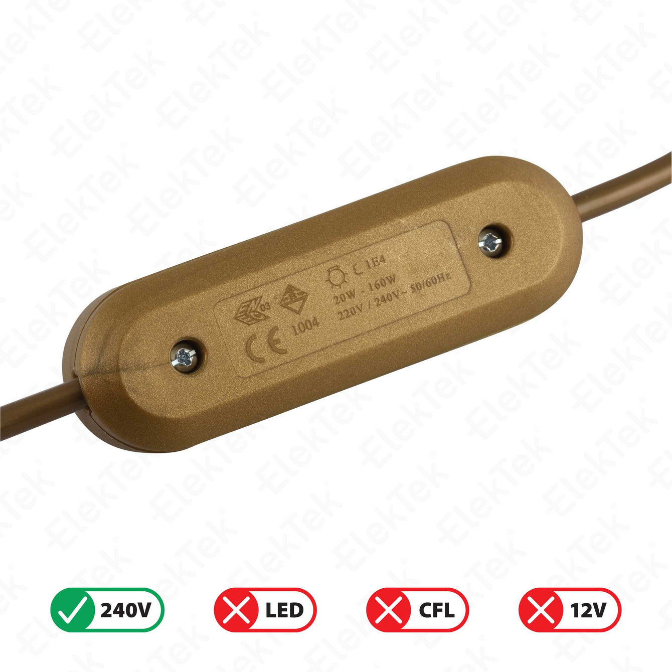 ElekTek In Line Rotary Dimmer Switch Rated 20-160w 240v AC 3 Core Suitable For Incandescent Lamps and Bulbs Colours