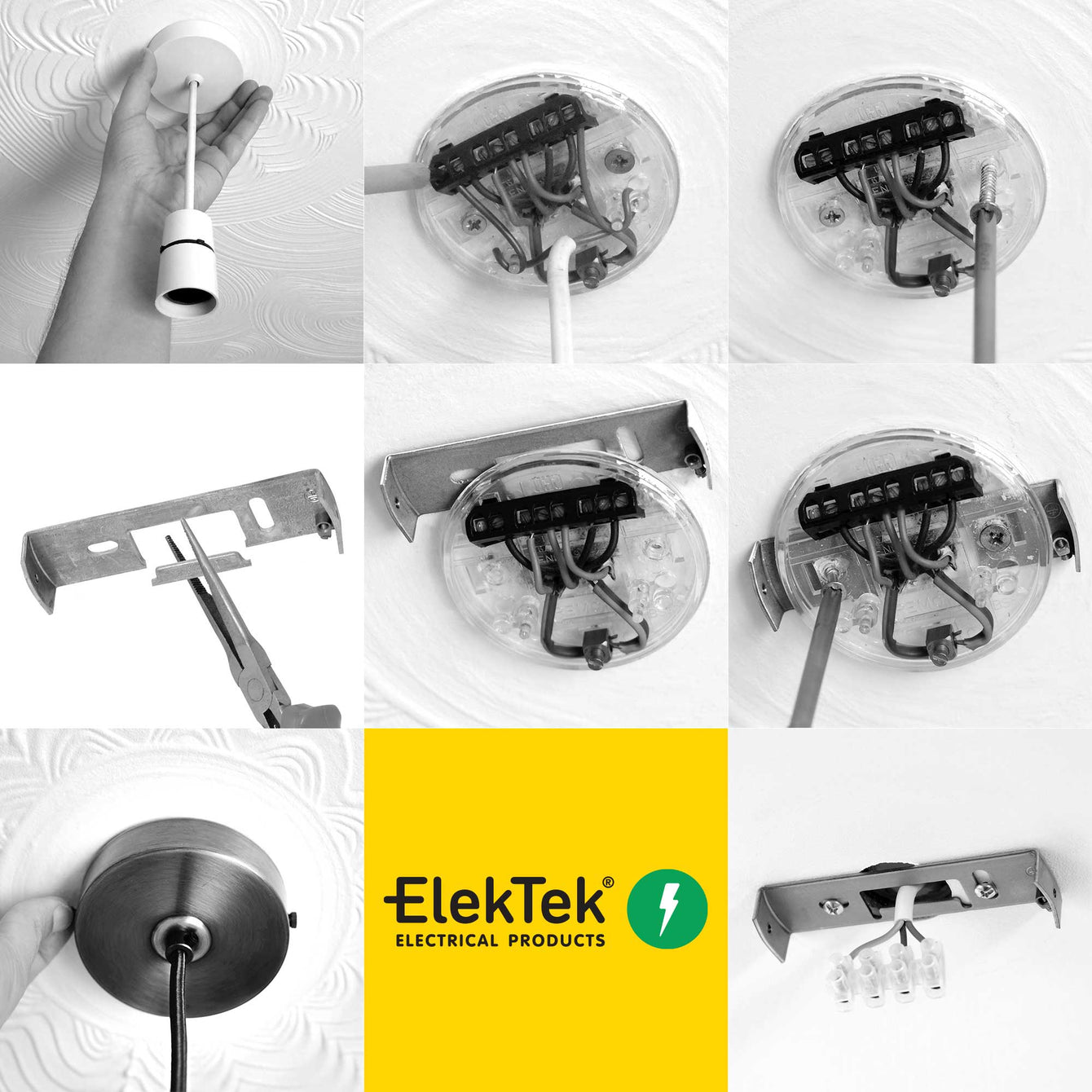 ElekTek 100mm Diameter Flat Top Ceiling Rose with Strap Bracket and Hook Metallic Finishes Powder Coated Colours Fusion Bronze