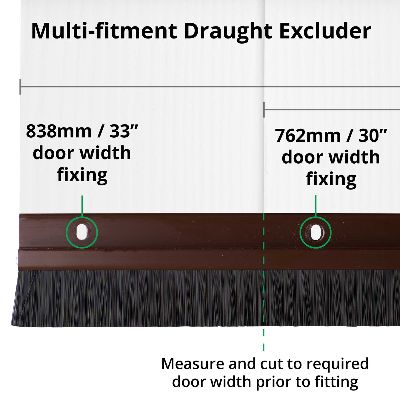 TrimSil Door Bottom Brush Strip Draught Excluder Sweep Seal Light Wood Effect Brown White PVC 838mm 3, 5 or 10 Pack - Buy It Better Brown / 3