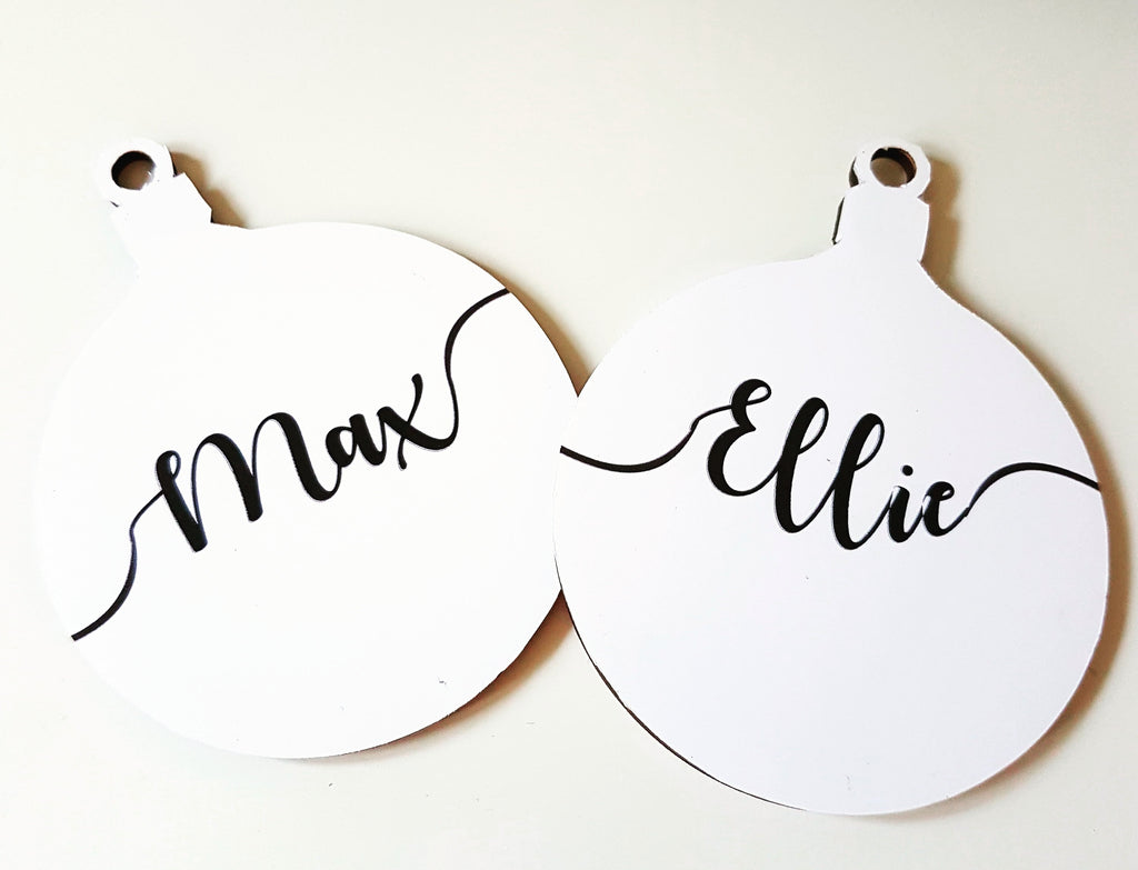 Personalised monochrome Christmas wooden Bauble - Hodge Podge Creations