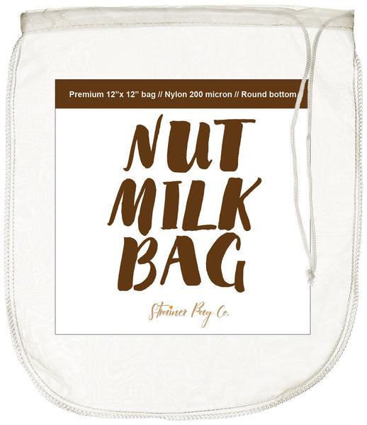 "Strainer Bag Co Nut Milk Bag - 12""X12"" - Reusable Fine Mesh 200 Micron + Free Recipe"