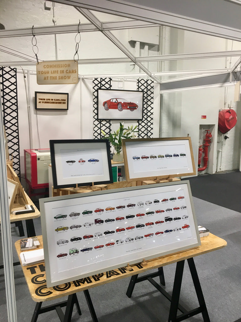 framed car artwork gift at trade show london classic car show 2020