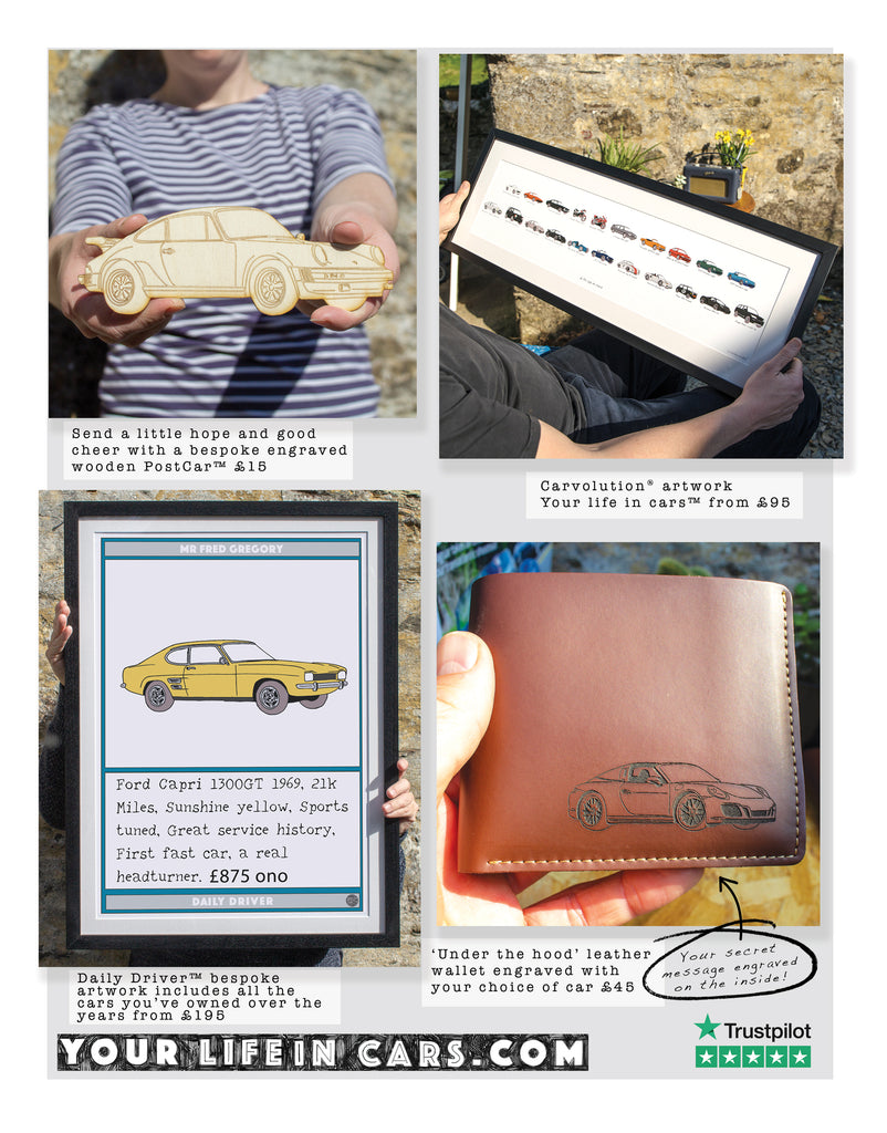 Octane magazine, bespoke car artwork featuring your life in cars, leather wallet, Daily driver artwork and our wooden postcar