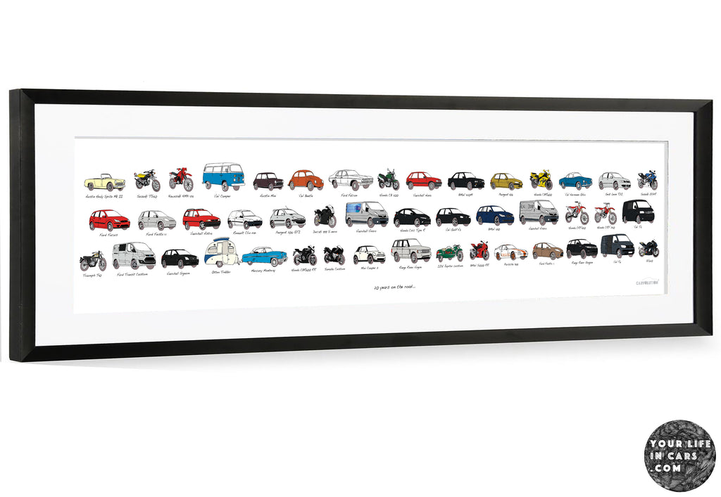 your car history panoramic artwork your life in cars picture my life in cars picture