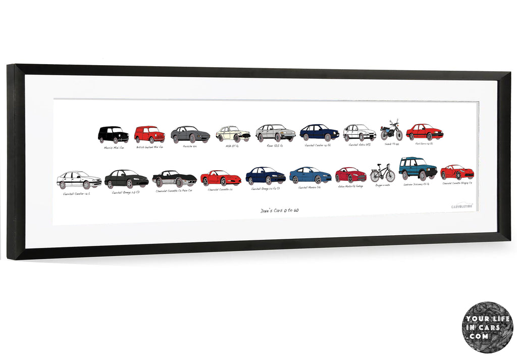 car history artwork featuring your life in cars framed in a black panoramic frame